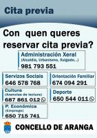 TELEFONOS CITA PREVIA CONCELLO DE ARANGA